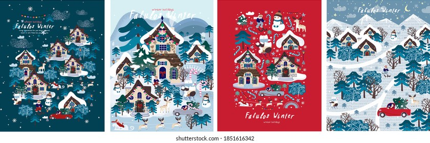 Fabulous winter. Vector illustration of christmas new year city, houses, forest, trees, santa claus and snowman. Drawings for postcard, poster and background