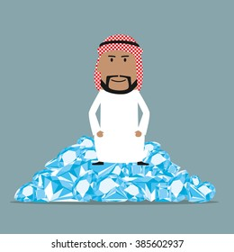 Fabulously wealthy cartoon arab businessman sitting on a heap of shining diamonds. Wealth, richness and abundance concept