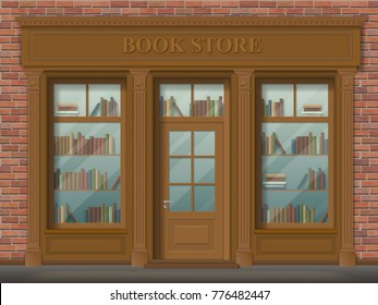 Facade of bookstore, front view. Wooden pilasters, classic style. Detailed vector realistic illustration.