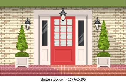 Facade of building, front door with outdoor plants in pots, vector building element
