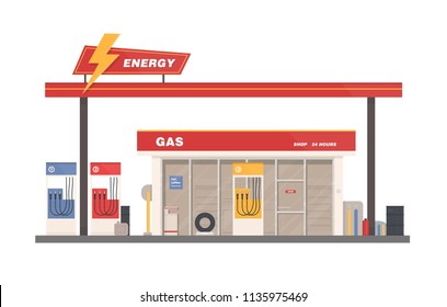 Facade of building of petrol, gas or filling station isolated on white background. Facility selling fuel or gasoline equipped with petroleum pumps. Colorful vector illustration in flat cartoon style