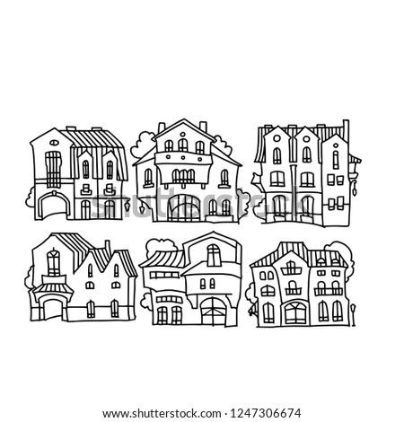 Facade Cartoon Houses Funny Vector House Stock Vector Royalty Free