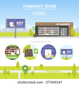 Facade of Cartoon Pharmacy storefront in the urban space, the sale of drugs and pills. Billboard advertising from pharmacies. Template concept for the website, advertising and sales.