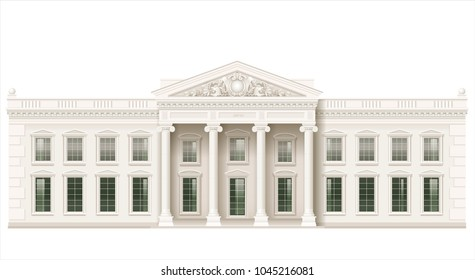 The facade of a classical public building is a Palace, a courthouse or a theater, a Parliament or a Museum. Classicism. Vector graphics