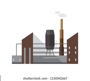 Facade of factory building or boiler house with pipe emitting vapor or gas isolated on white background. Exterior of centralized heating plant. Cartoon colorful vector illustration in flat style.
