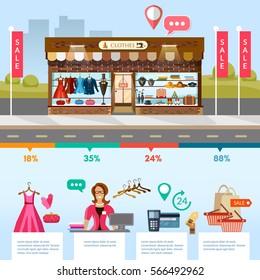 clothing store showcases fashion shop interior stock vector royalty