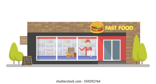 Facade of Fast Food Store Restaurant. Template concept for the website, advertising and sales
