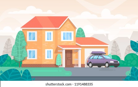 Facade of the house is with a garage and a car. Cottage. Vector illustration in a flat style