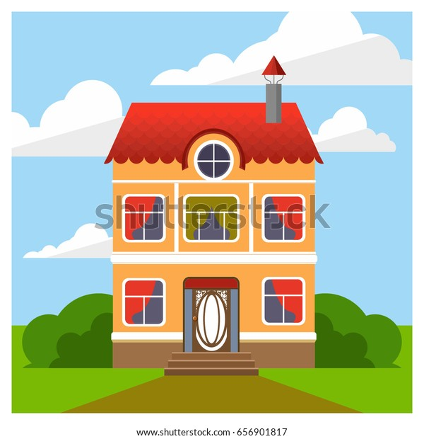 Astonishing Facade House Red Tiles Cozy Home Stock Vector Royalty Free Interior Design Ideas Gresisoteloinfo
