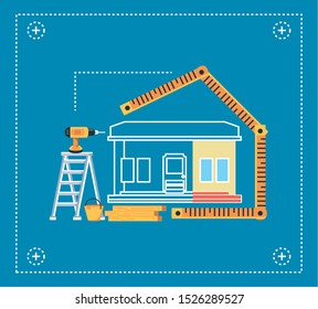 facade house under construction with rules and tools vector illustration design