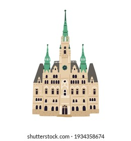 Facade of Liberec Town Hall. Old Czech building with towers and spire. Colored flat vector illustration of ancient European architecture isolated on white background