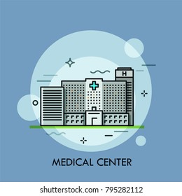 Facade of modern gray building of medical center. Concept of health care institution, hospital, medicine, clinic. Creative vector illustration in thin line style for banner, poster, website.