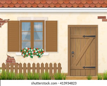 The facade of the old building. Wooden window, door and fence with grass in the foreground. Traditional architectural style. Vector illustration.