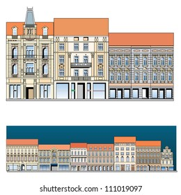 facade of the old European street, vector drawing