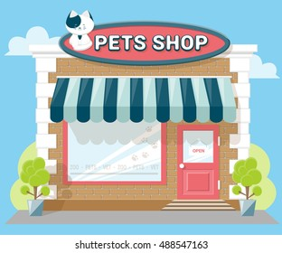 Facade pets or zoo store. Signboard with emblem cat, awning and symbol in windows. Concept front shop for design banner or brochure. flat design. Vector illustration isolated on blue background