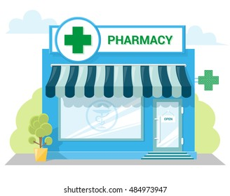 Facade pharmacy store with a signboard, awning and symbol in shopwindow. Abstract image in a flat design. Front shop for Concept brochure or banner. Vector illustration isolated on white background