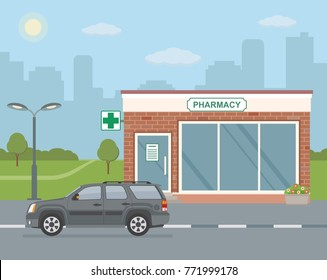 Facade pharmacy store and SUV car on city background. Flat style, vector illustration.