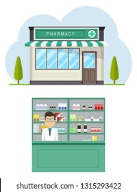 Facade of pharmacy store in urban space. Modern interior pharmacy or drugstore with male pharmacist at the counter. Medicine pills capsules bottles vitamins and tablets.