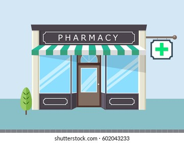 Facade of pharmacy store in  urban space.
