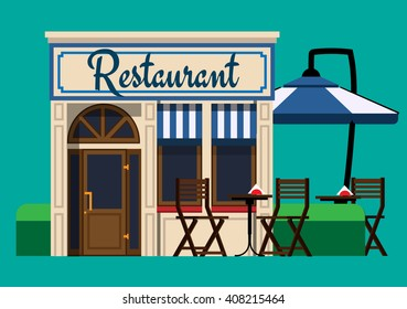 The facade of the restaurant in a flat style