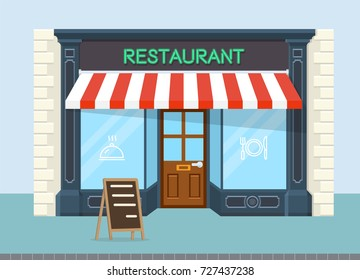Facade of restaurant vector flat design