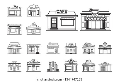 Facade Shop Store Front View Line Art Outline Style Icon Set