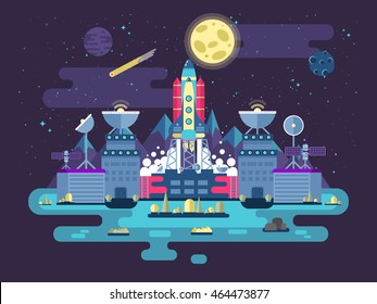 Facade of a station building and ancillary facilities with soaring rocket into open outer space for expedition and research on the background  in flat style.Vector illustration