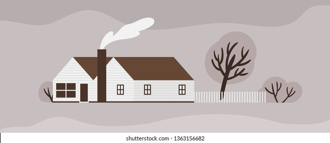 Facade of town house or cottage in Scandic style. Wooden Scandinavian building with fence. Modern suburban residence or dwelling, farmstead, household or ranch. Monochrome vector illustration.