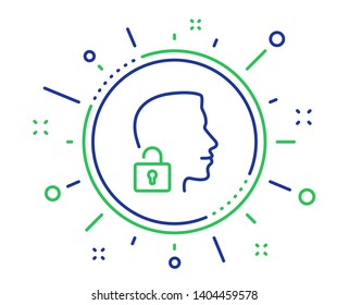 Face accepted line icon. Access granted sign. Unlock system symbol. Quality design elements. Technology unlock system button. Editable stroke. Vector