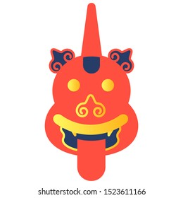 The face of the animal of Chinese mythology Ludun. Illustration on a white background. Vector.