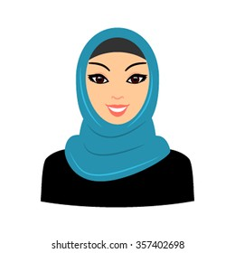 The face of the Arab Muslim woman in a headscarf. East woman a portrait of icon-style traditions. Vector illustration