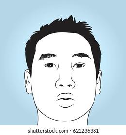 Face of asian men.