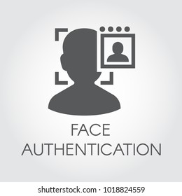 Face authentication flat icon. Facial biometric identity. Silhouette of human head in recognition camera. Technology of person verification in modern devices. Security innovation system. Vector sign