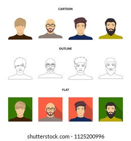 The face of a Bald man with glasses and a beard, a bearded man, the appearance of a guy with a hairdo. Face and appearance set collection icons in cartoon, outline, flat style vector symbol stock