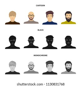 The face of a Bald man with glasses and a beard, a bearded man, the appearance of a guy with a hairdo. Face and appearance set collection icons in cartoon,black,monochrome style vector symbol stock
