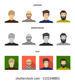 The face of a Bald man with glasses and a beard, a bearded man, the appearance of a guy with a hairdo. Face and appearance set collection icons in cartoon,flat,monochrome style vector symbol stock