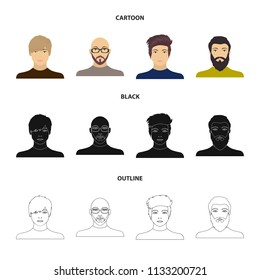The face of a Bald man with glasses and a beard, a bearded man, the appearance of a guy with a hairdo. Face and appearance set collection icons in cartoon,black,outline style vector symbol stock