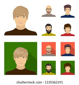 The face of a Bald man with glasses and a beard, a bearded man, the appearance of a guy with a hairdo. Face and appearance set collection icons in cartoon,flat style vector symbol stock illustration