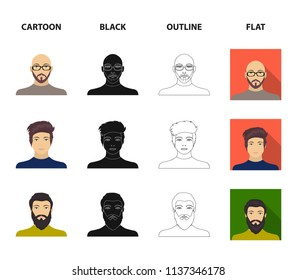 The face of a Bald man with glasses and a beard, a bearded man, the appearance of a guy with a hairdo. Face and appearance set collection icons in cartoon,black,outline,flat style vector symbol stock