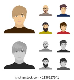 The face of a Bald man with glasses and a beard, a bearded man, the appearance of a guy with a hairdo. Face and appearance set collection icons in cartoon,monochrome style vector symbol stock