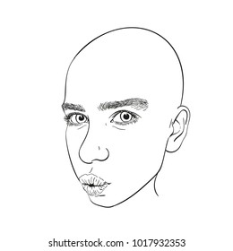 Face of bald teenage girl with thick natural eyebrows and lips making kiss, Vector line art illustration isolated on white background