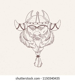 Face of bearded viking wearing horned helmet hand drawn with outlines on light background. Drawing of head of Scandinavian mythological character or medieval hero. Monochrome vector illustration.