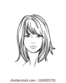 Face of a beautiful young woman with casual medium straight hair. Women hairstyle icon. Logo women face with fashionable hairstyle. Vector Illustration