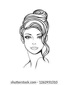 Face of a beautiful young woman with long curly formal updo hairstyle . Women fashionable  hairstyle icon. Vector Illustration