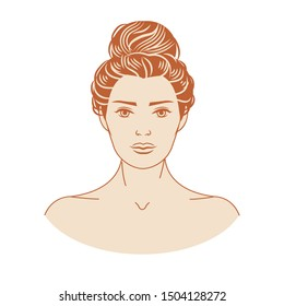 Face of a beautiful young woman with long curly formal updo hairstyle. Vector illustration of a format EPS.