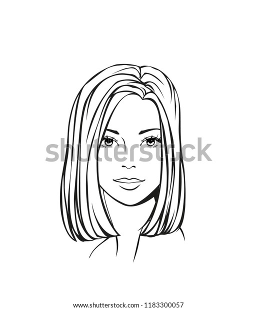 Face Beautiful Young Woman Medium Length Royalty Free