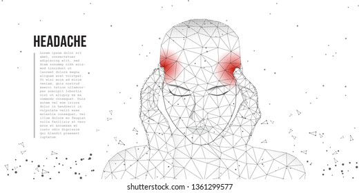 Face beautiful young woman suffering from a headache presses her hands to her head. Allegory health and pain. A tired woman with a severe headache suffers from a migraine. Low poly concept. Vector