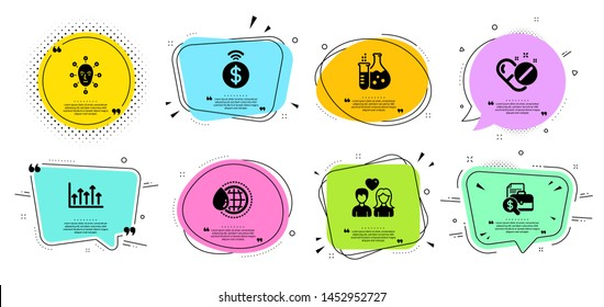 Face biometrics, Couple love and Accounting report line icons set. Chat bubbles with quotes. World water, Medical pills and Growth chart signs. Contactless payment, Chemistry flask symbols. Vector