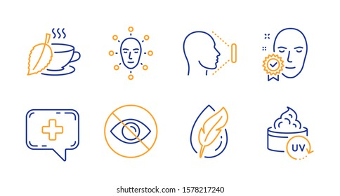 Face biometrics, Mint tea and Face verified line icons set. Not looking, Hypoallergenic tested and Medical chat signs. Uv protection symbol. Facial recognition, Mentha beverage. Vector