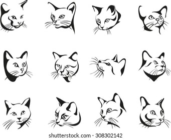 The face of a black cat, vector the image of a cat face, cat, portrait, Black silhouette of ca Vector illustration